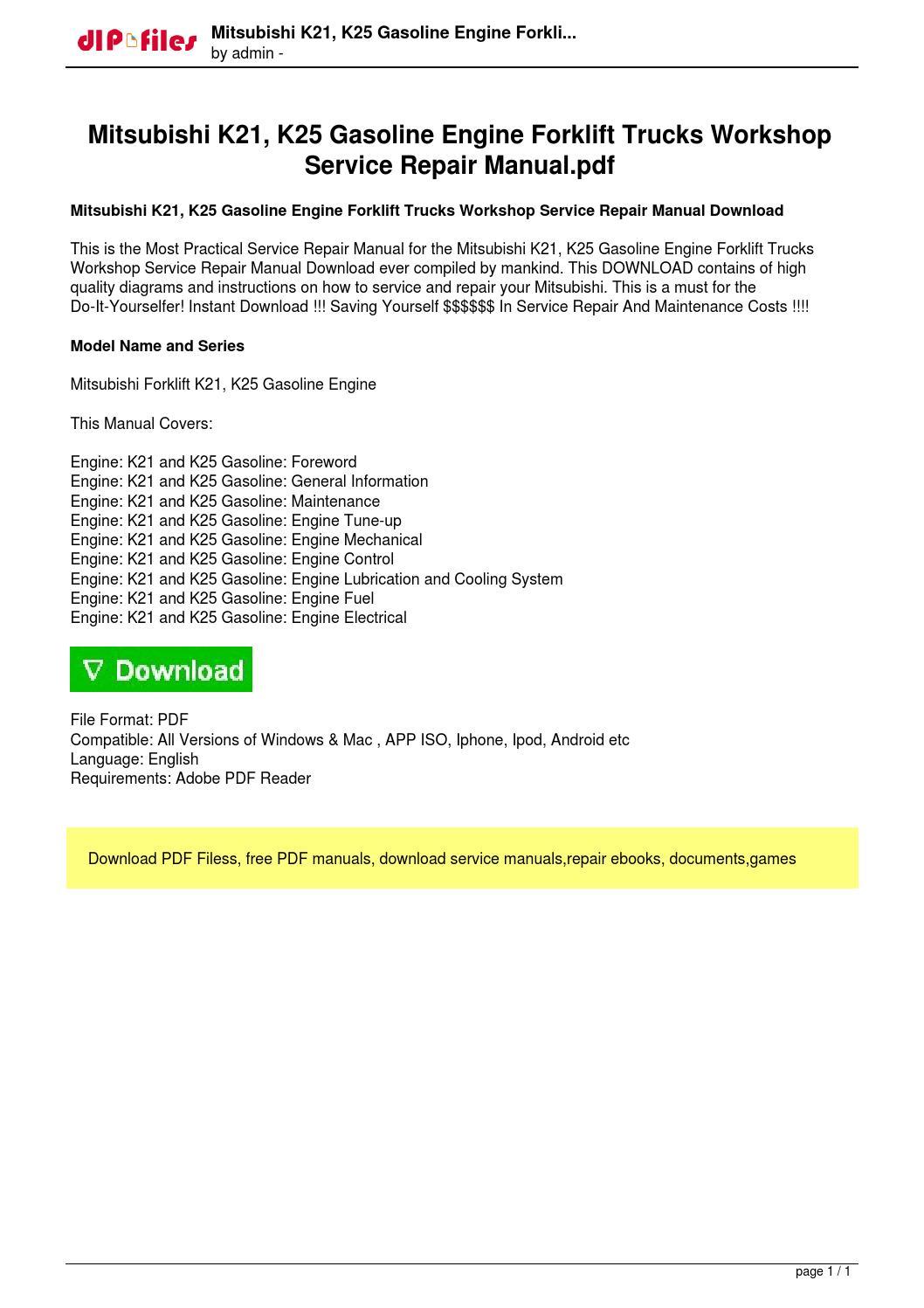 Mitsubishi 4d34 Engine Workshop Manual Pdf 2000 Mercury Cougar Owners 6d24 Diesel Repair Shop