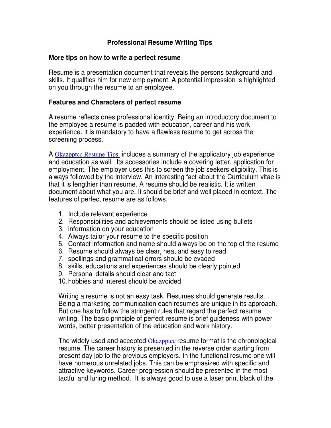 professional resume writing tips by rachael issuu