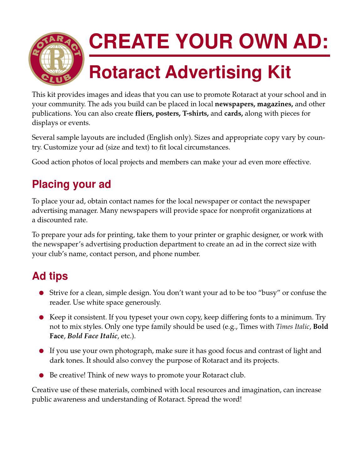 Kit de Publicidade do Rotaract by Secretaria Rotaract - issuu