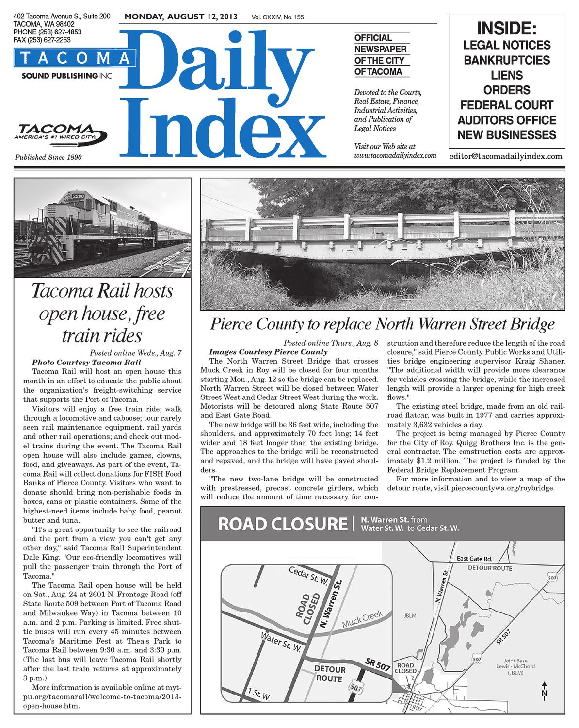 Tacoma daily index august 12 2013 by sound publishing for Fish food bank tacoma