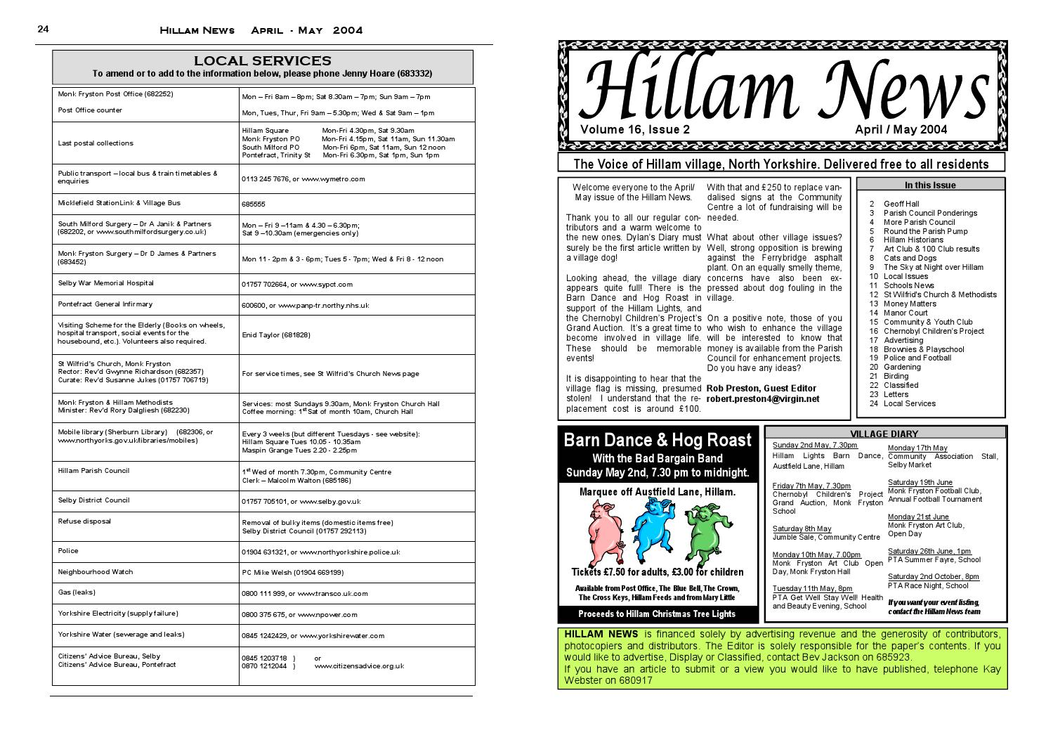 Hillam News April May 2004 by Hillam News - issuu
