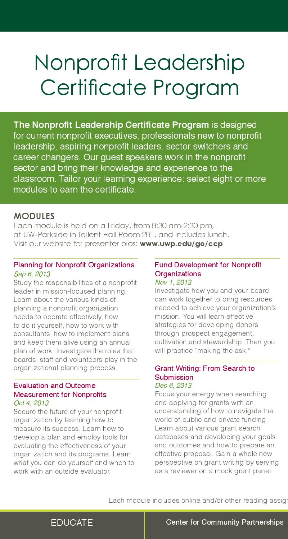 Nonprofit Leadership Certificate Program By University Of Wisconsin