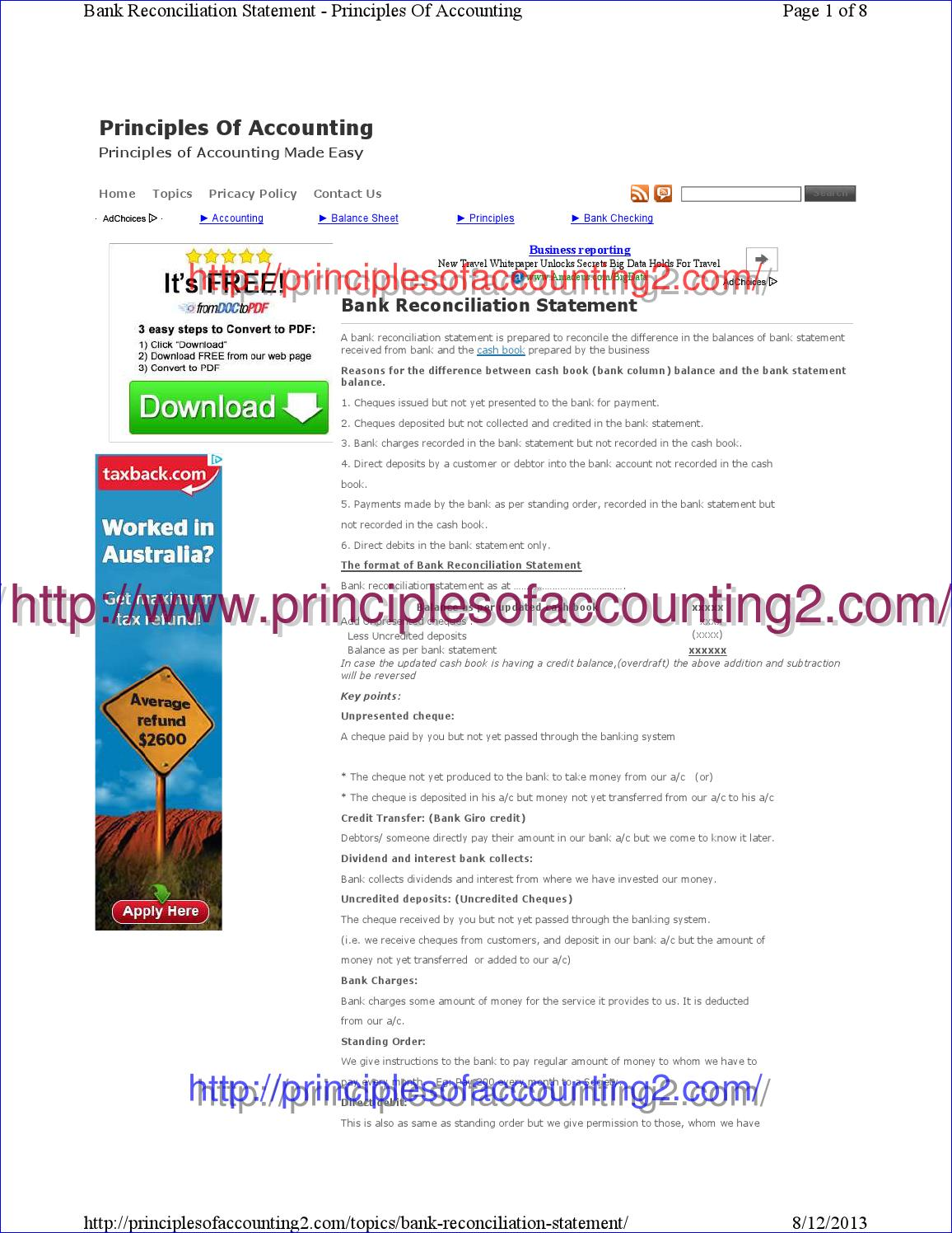 Bank Reconciliation Statement Principles Of Accounting By