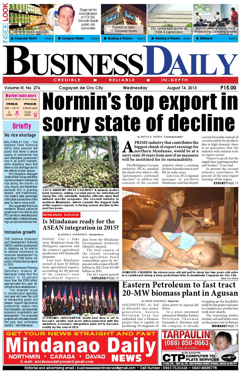 BusinessDaily (August 14, 2013) by Mindanao Daily News - issuu