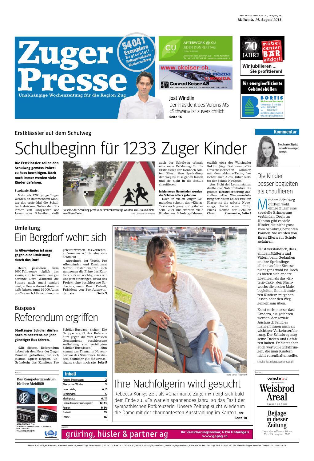 Zuger presse 20130814 by Zuger Presse - Zugerbieter - issuu