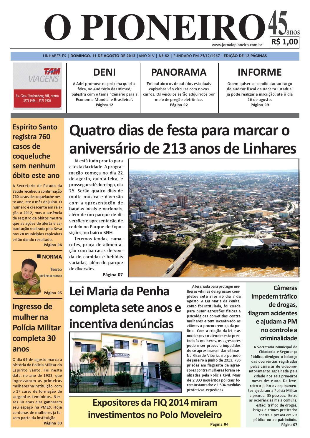 O PIONEIRO 11 DE AGOSTO DE 2013 by Jornal O PIONEIRO - issuu 6454b7923c9b5