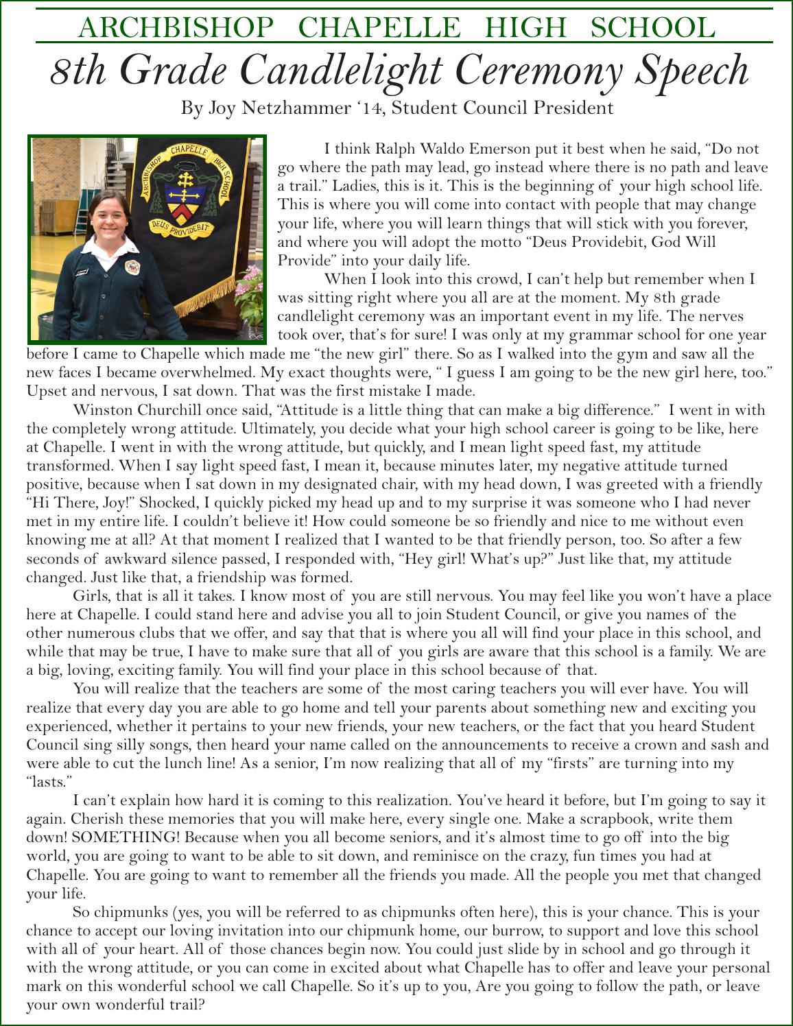 8th Grade Candlelight Ceremony Speech 2013 by ACHS - Issuu