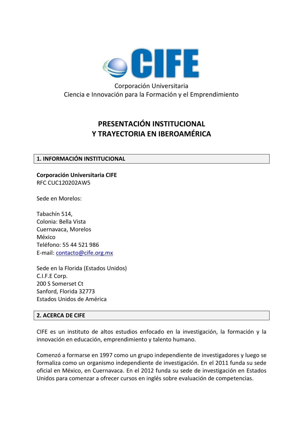 Curriculum vitae cife by CIFE, Centro Universitario - issuu