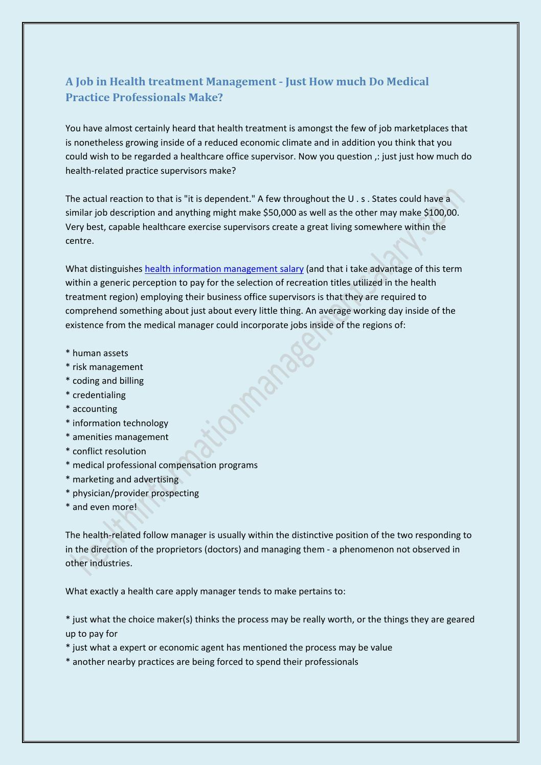 Health Information Management Salary By Jaktionhayder Issuu