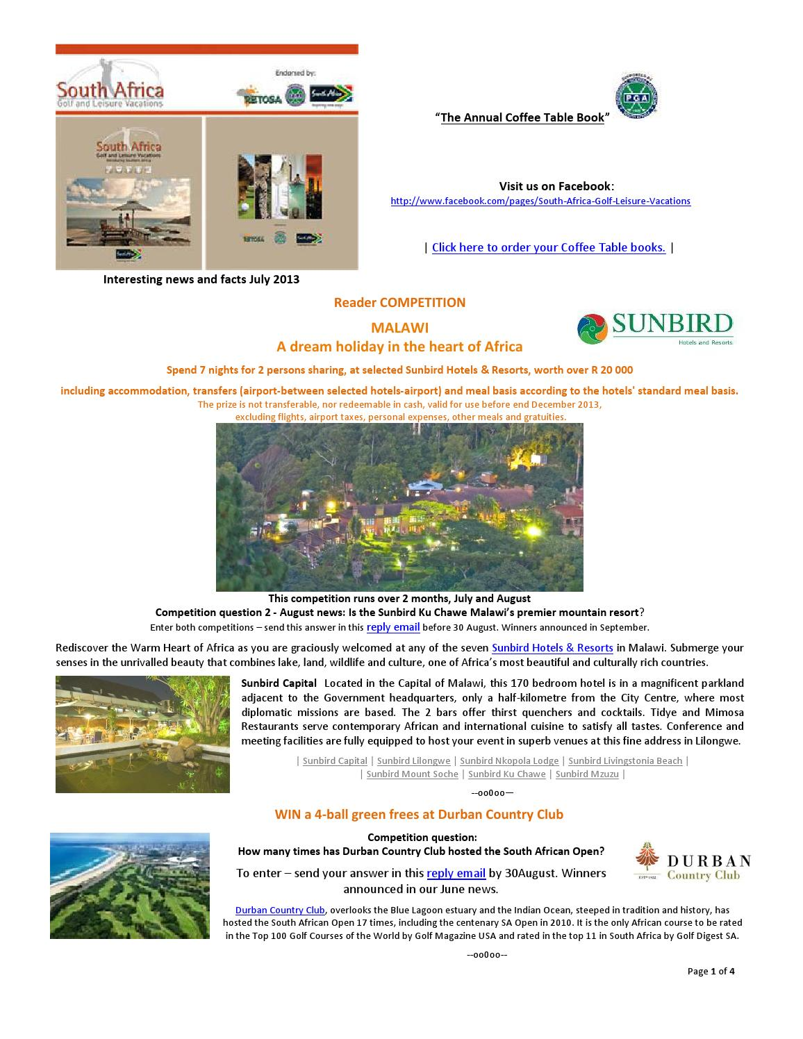 Sa Golf And Leisure August2013 News Info Competitions By Sa