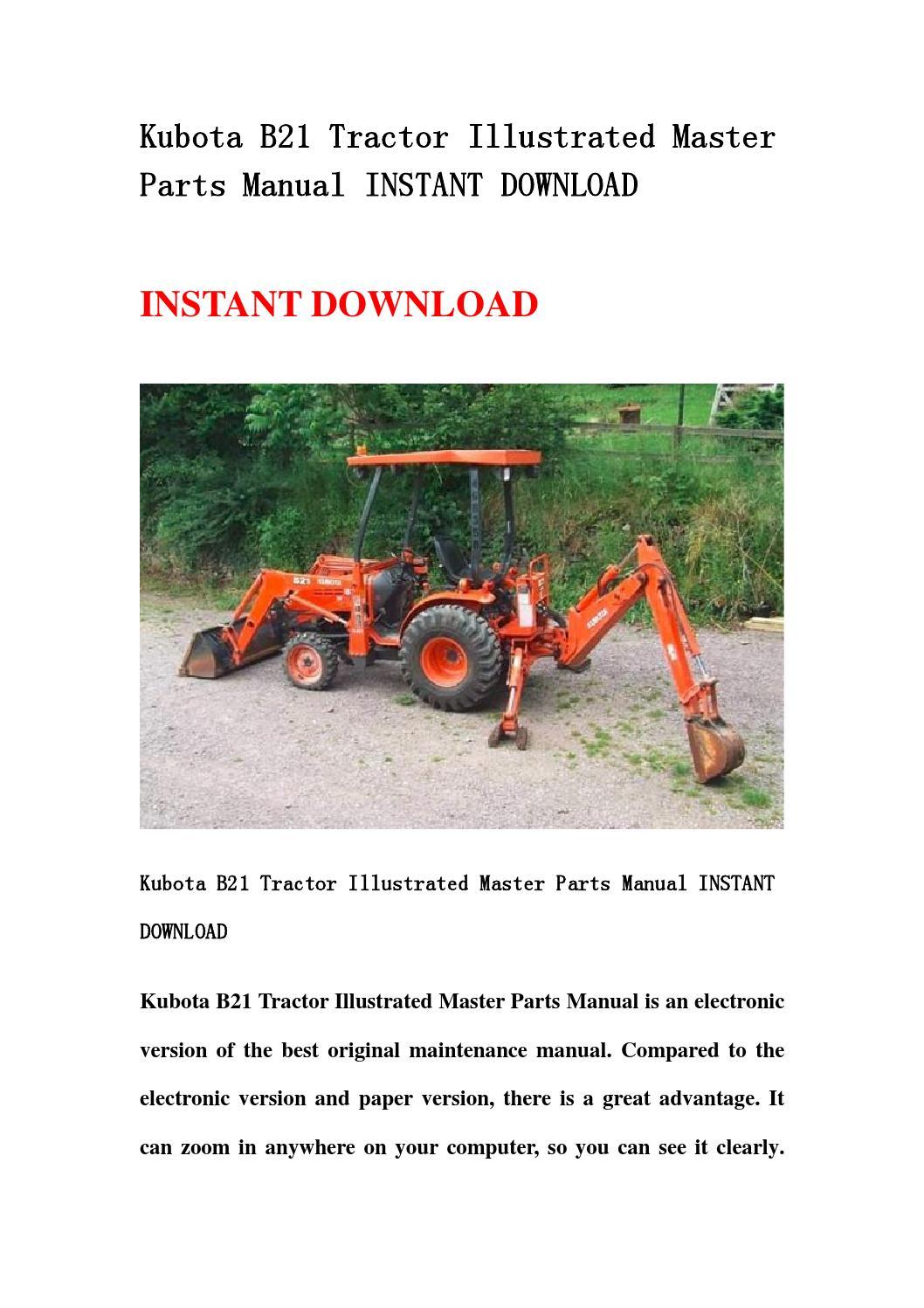 Kubota B21 Tractor Illustrated Master Parts Manual Instant