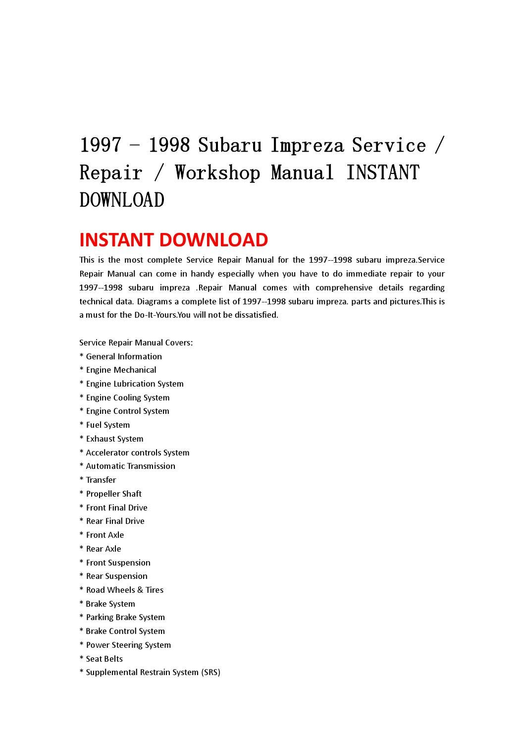 1997 1998 Subaru Impreza Service Repair Workshop Manual Instant Front Axle Diagram Download By Jsefgsebh Issuu