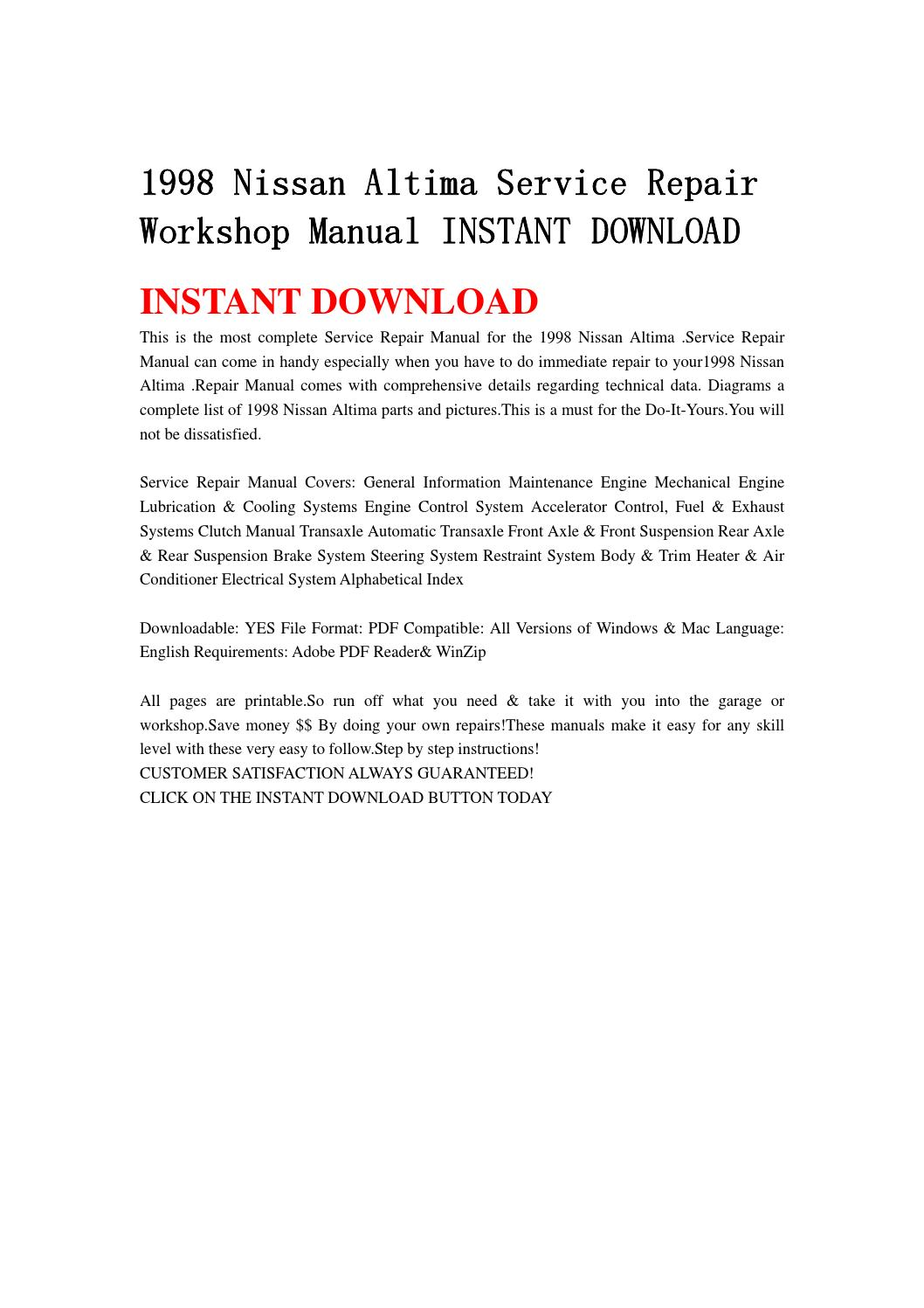 1998 nissan altima service repair workshop manual instant download by  jsefgsebh - issuu