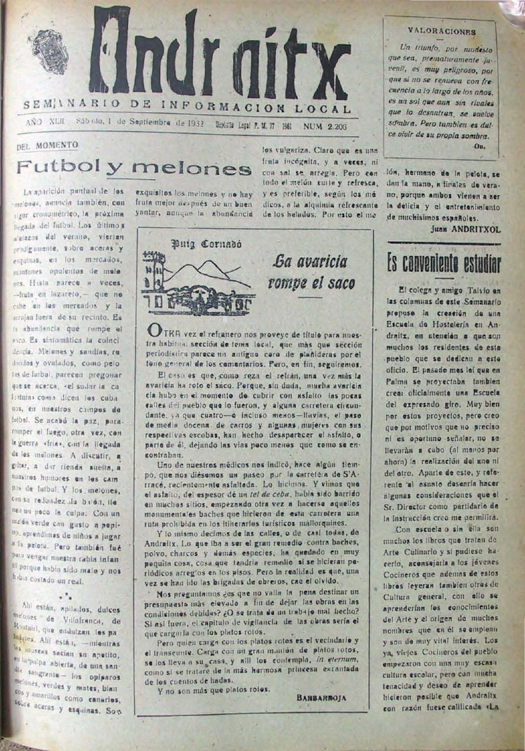 Andraitx setembre 1962 by Biblioteca Municipal d\'Andratx - issuu