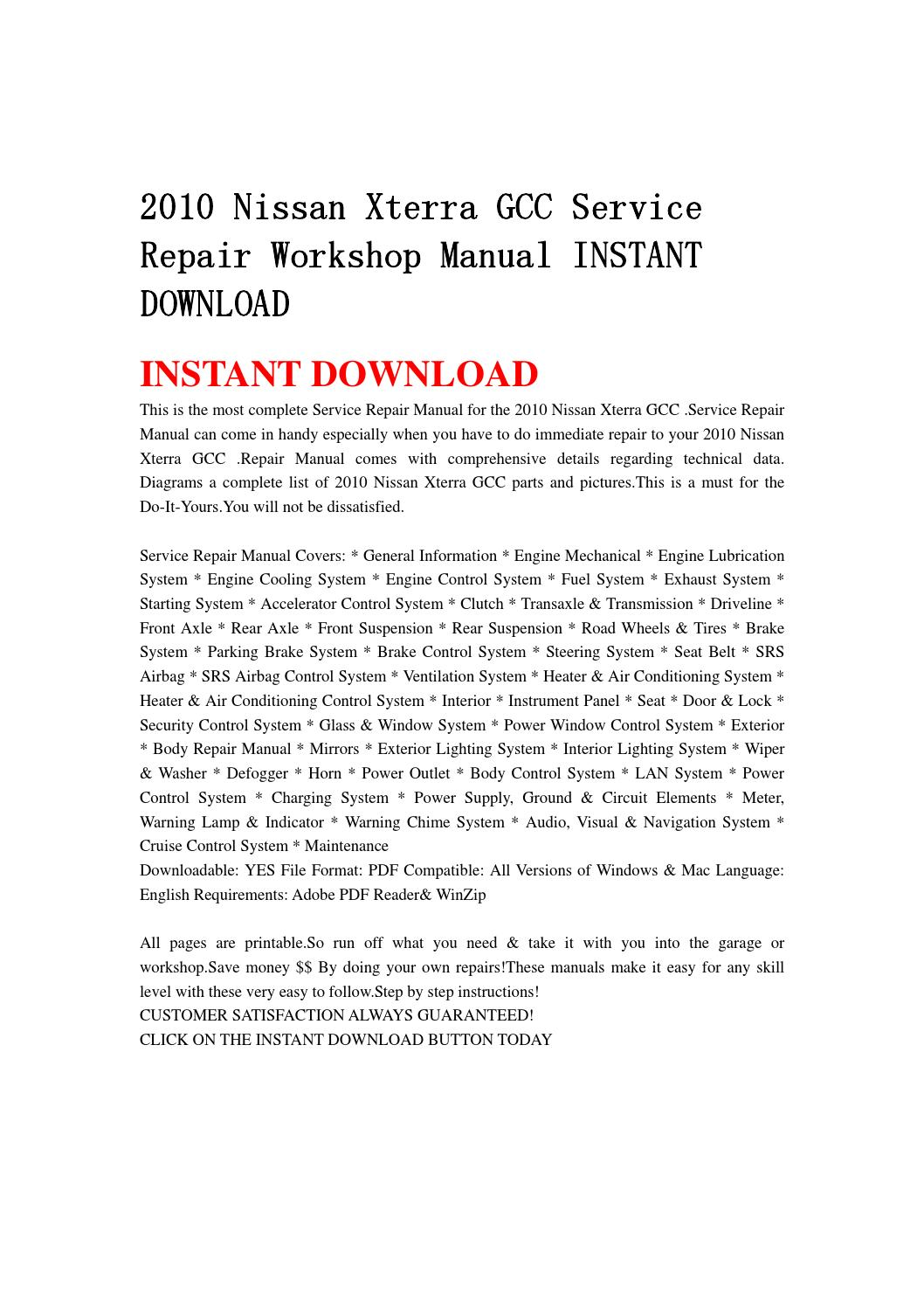 2010 nissan xterra gcc service repair workshop manual instant download by  jsefgsebh - issuu