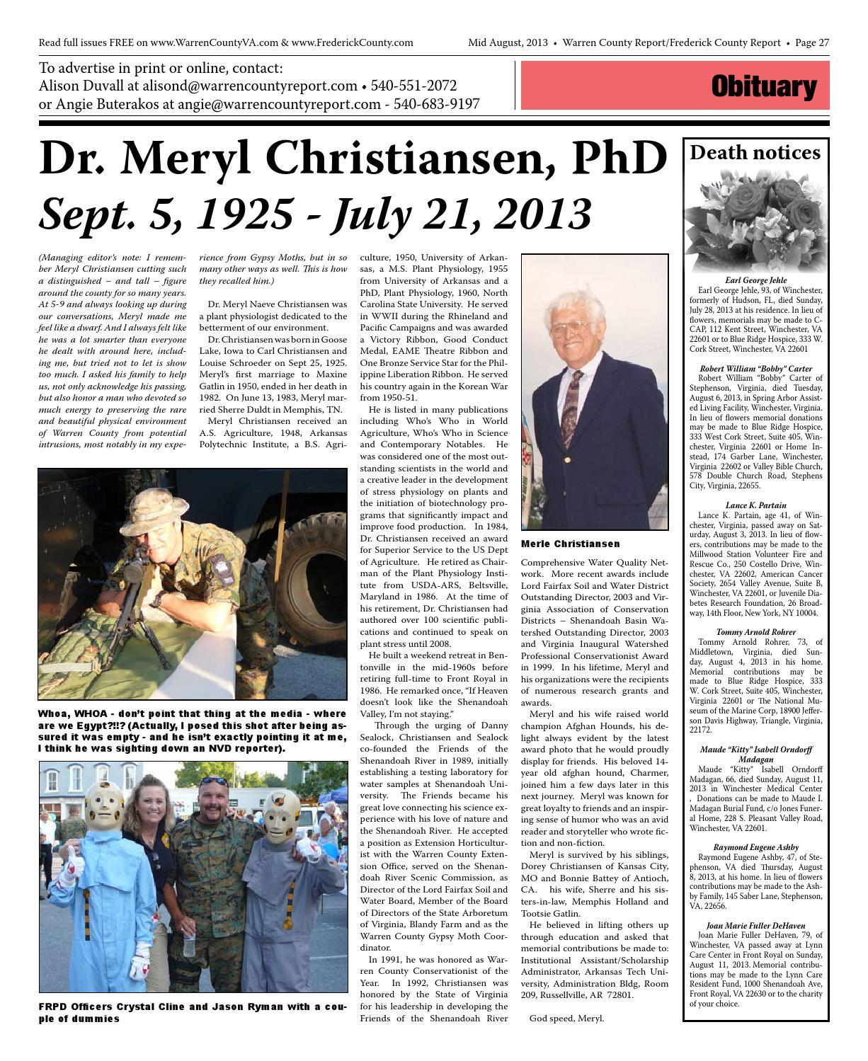 Mid August 2013 Warren Frederick County Report By Warren