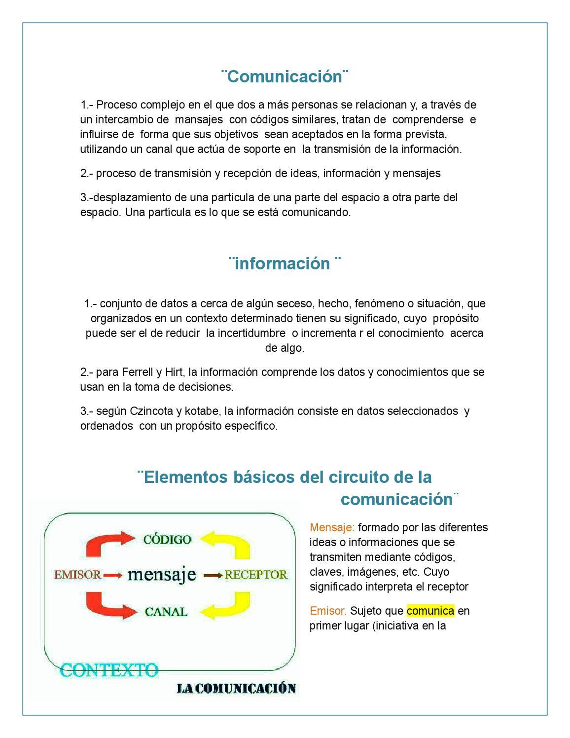 Circuito Significado : Definiciones de comunicación e información elementos básicos del