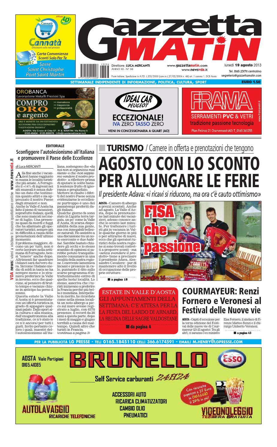 Siva Tavoli E Panche.Gazzetta Matin Del 19 Agosto 2013 By Luca Mercanti Issuu