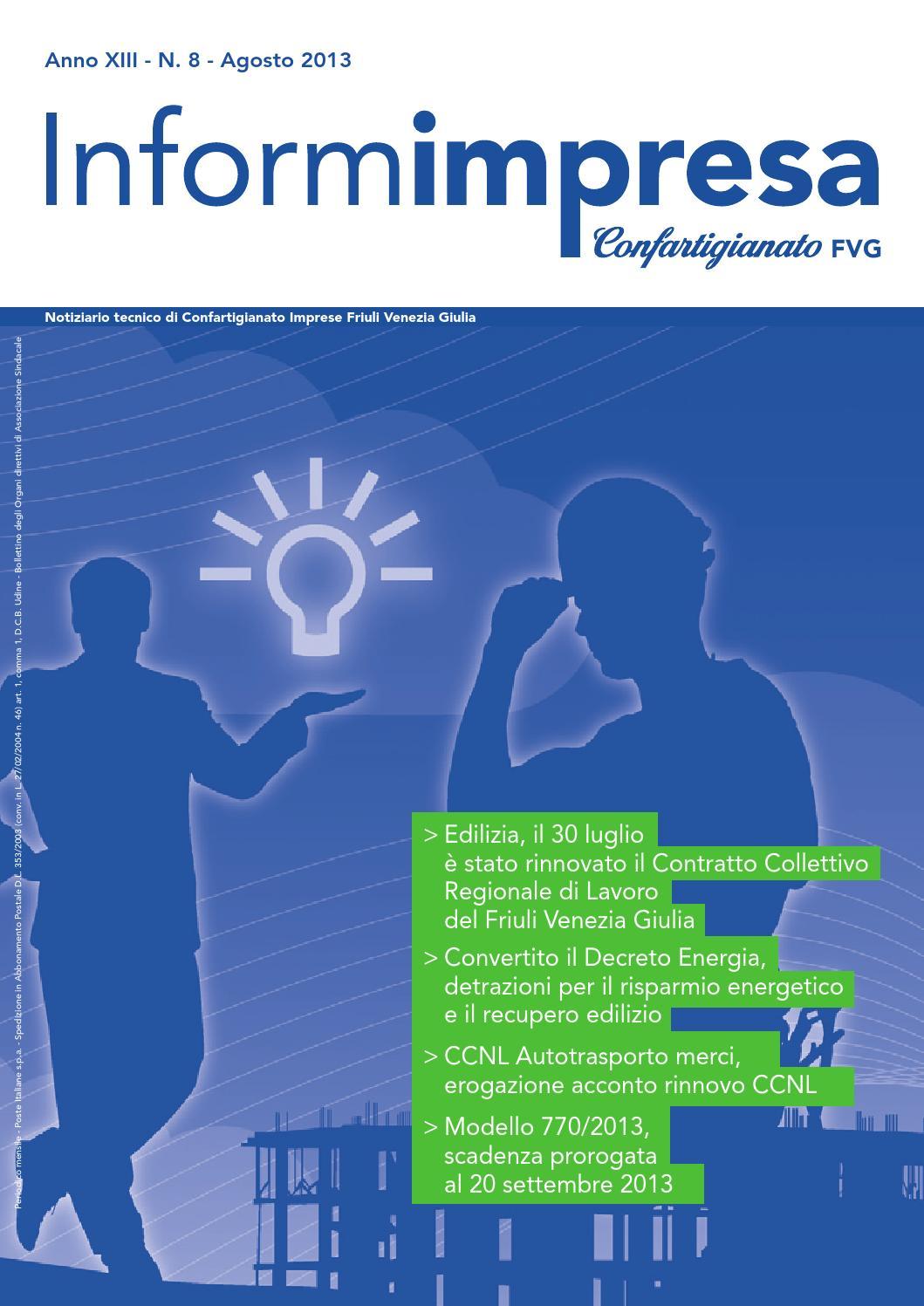 Informimpresa n 8 2013 by confartigianato imprese udine for Rinnovo contratto affitto