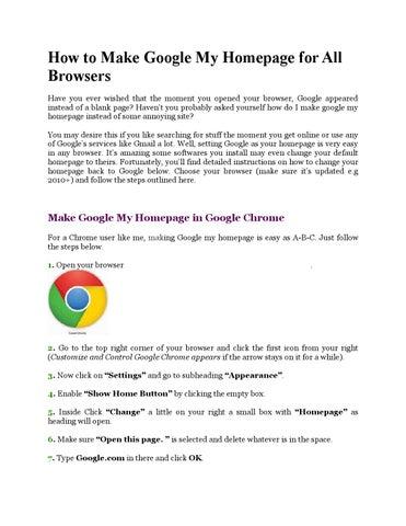 Make google my homepage by tom5 - issuu