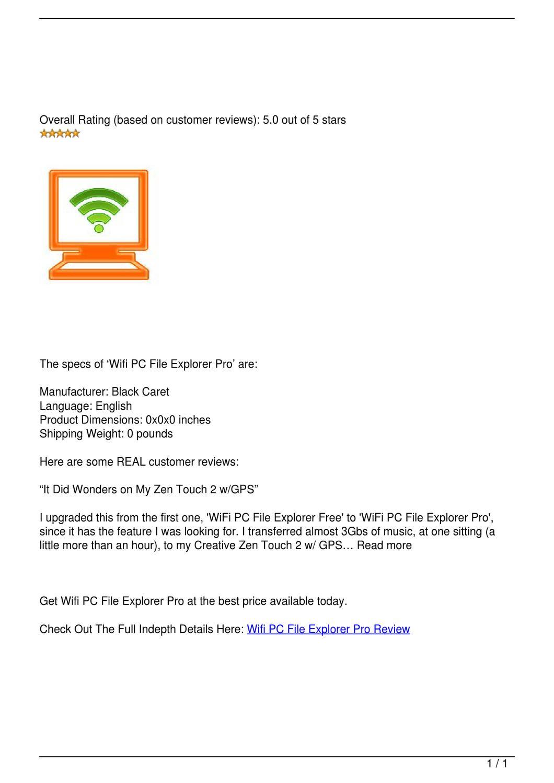 Wifi PC File Explorer Pro Review by jeffnaz - issuu