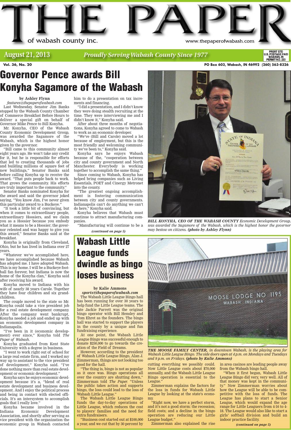 August 21, 2013 by The Paper of Wabash County - issuu