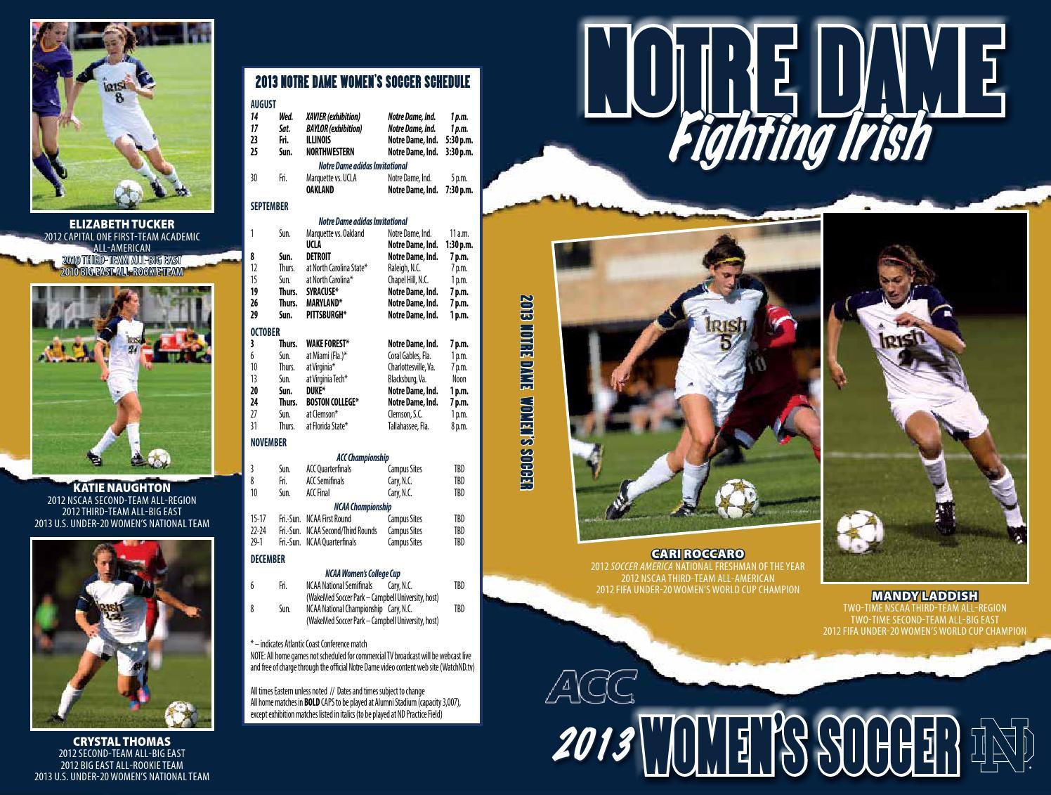 2013 Notre Dame WSoccer Media Guide