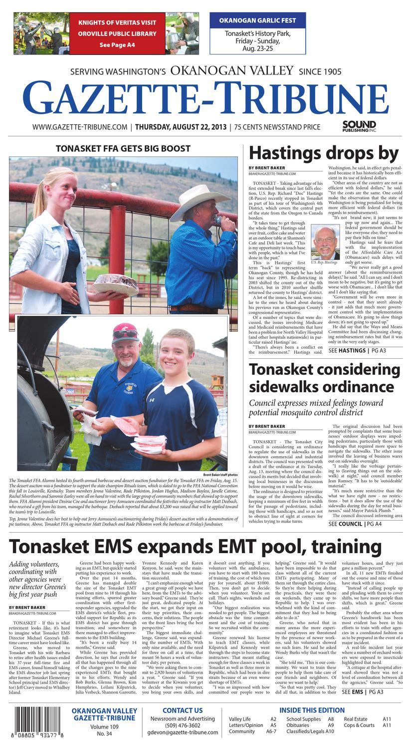 Okanogan Valley Gazette-Tribune, August 22, 2013 by Sound Publishing