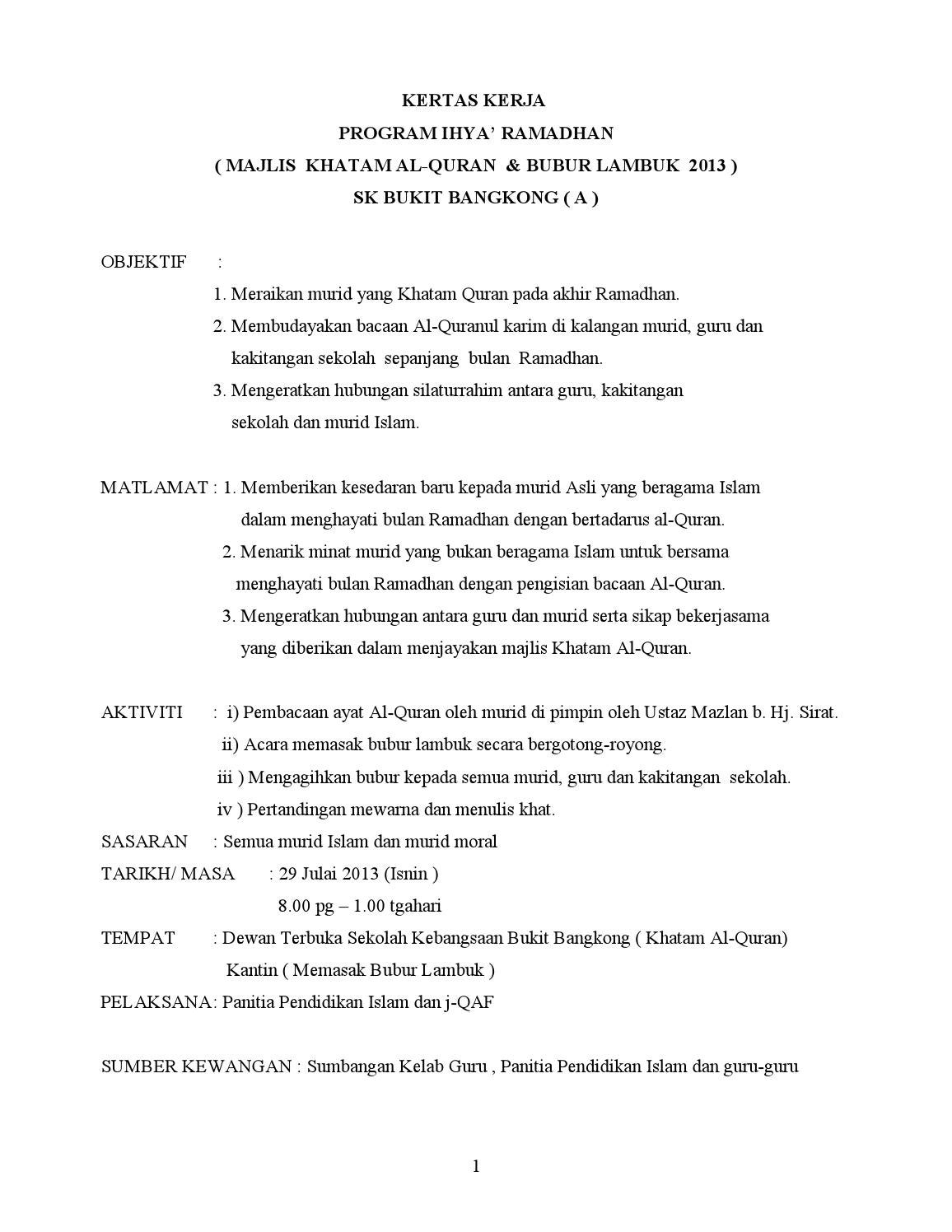 Kertas Kerja Majlis Khatam Quran By Salmah Issuu