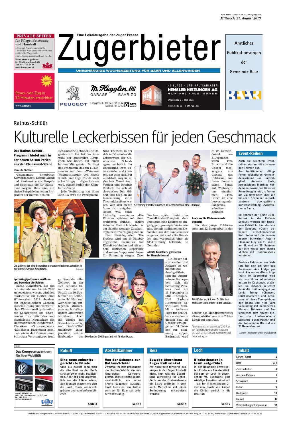 Zugerbieter 20130821 by Zuger Presse Zugerbieter issuu