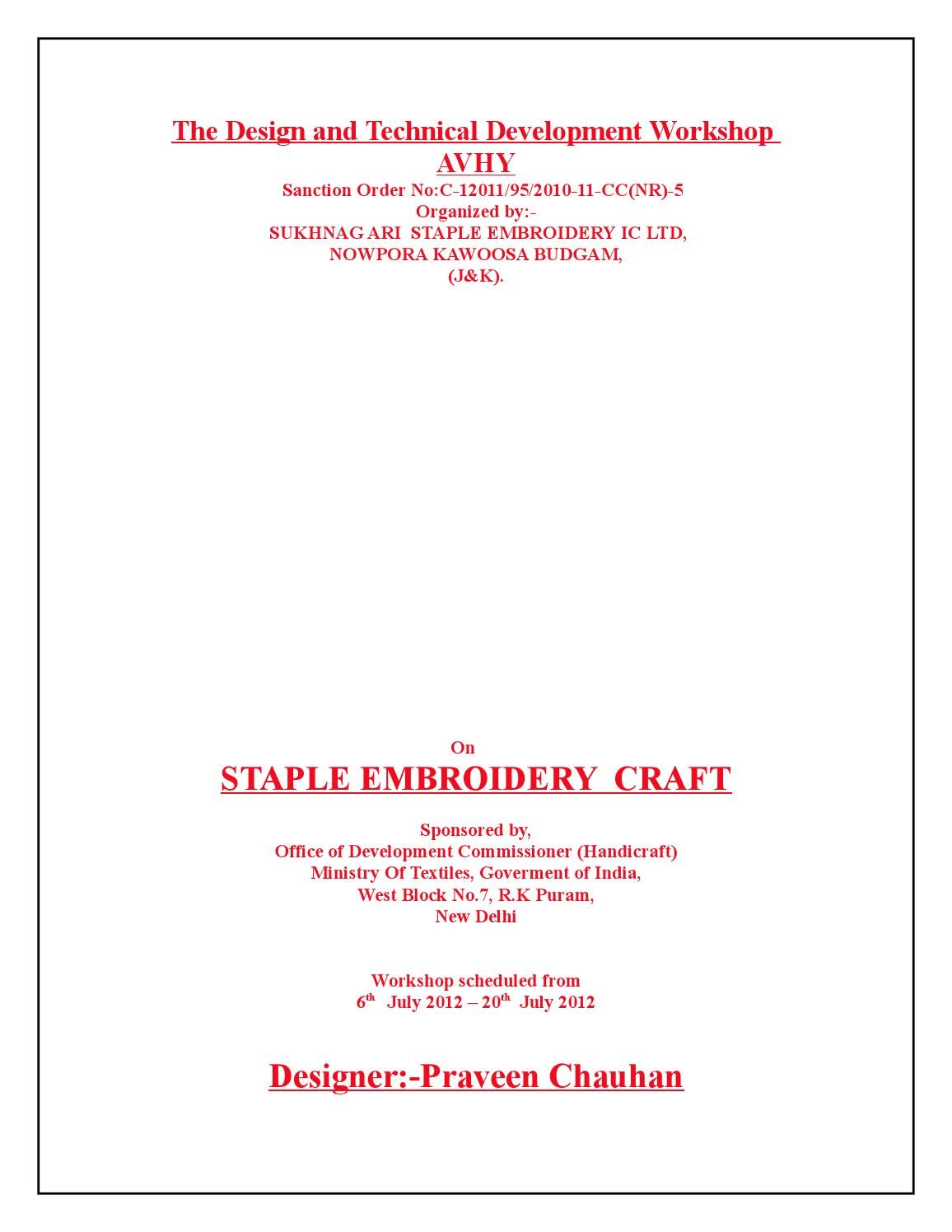 Staple Embroidery Craft By Sukhnag Directory Issuu