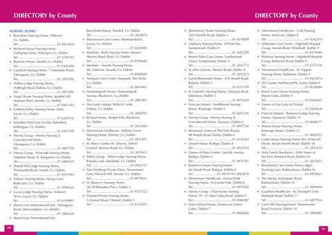 DIrECTOrY By County NUrSING HOMES O Beechtree Nursing Home Oldtown Co Dublin Tel 01 8433634 Belmont House