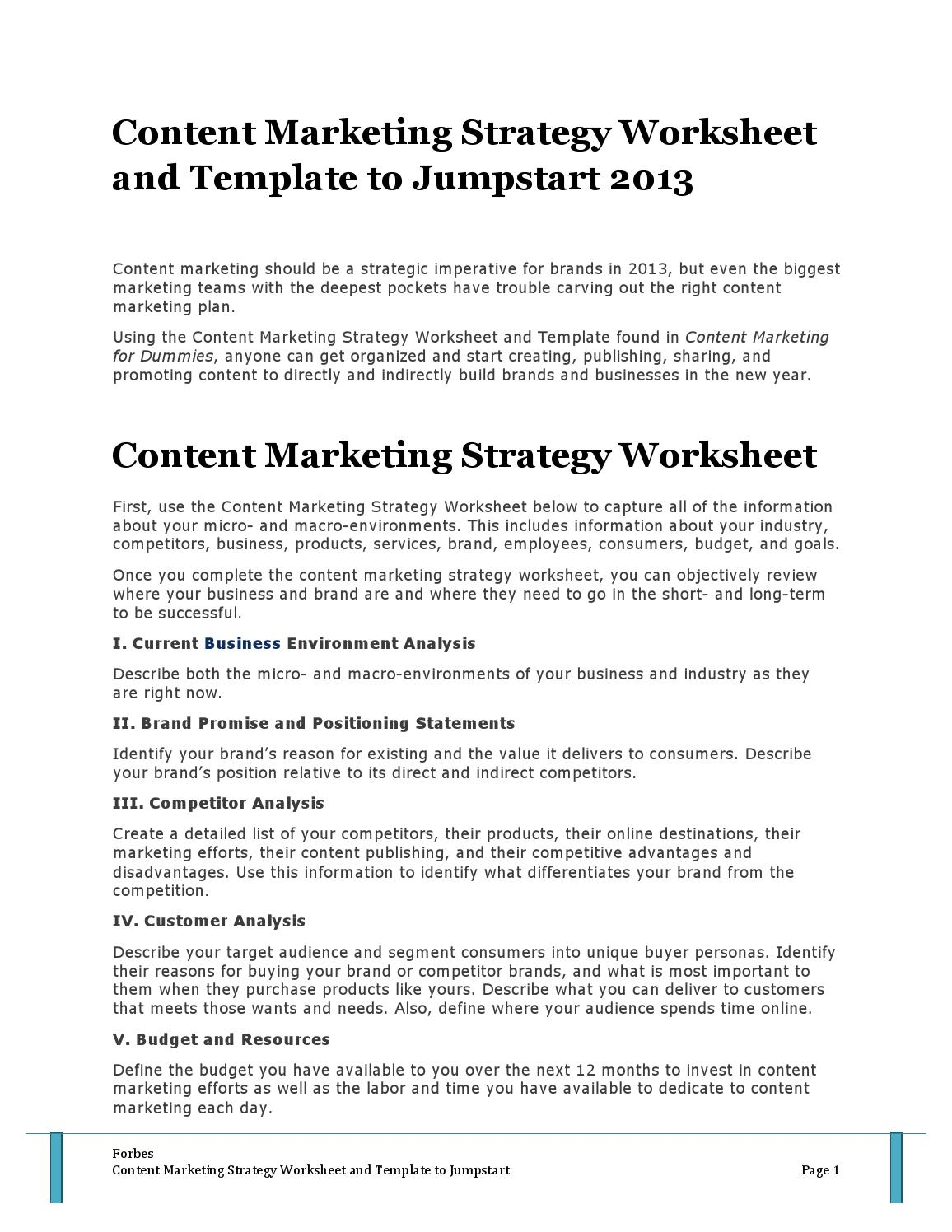 Forbes content marketing strategy worksheet and template to forbes content marketing strategy worksheet and template to jumpstart 2013 by mohamed issuu wajeb Images