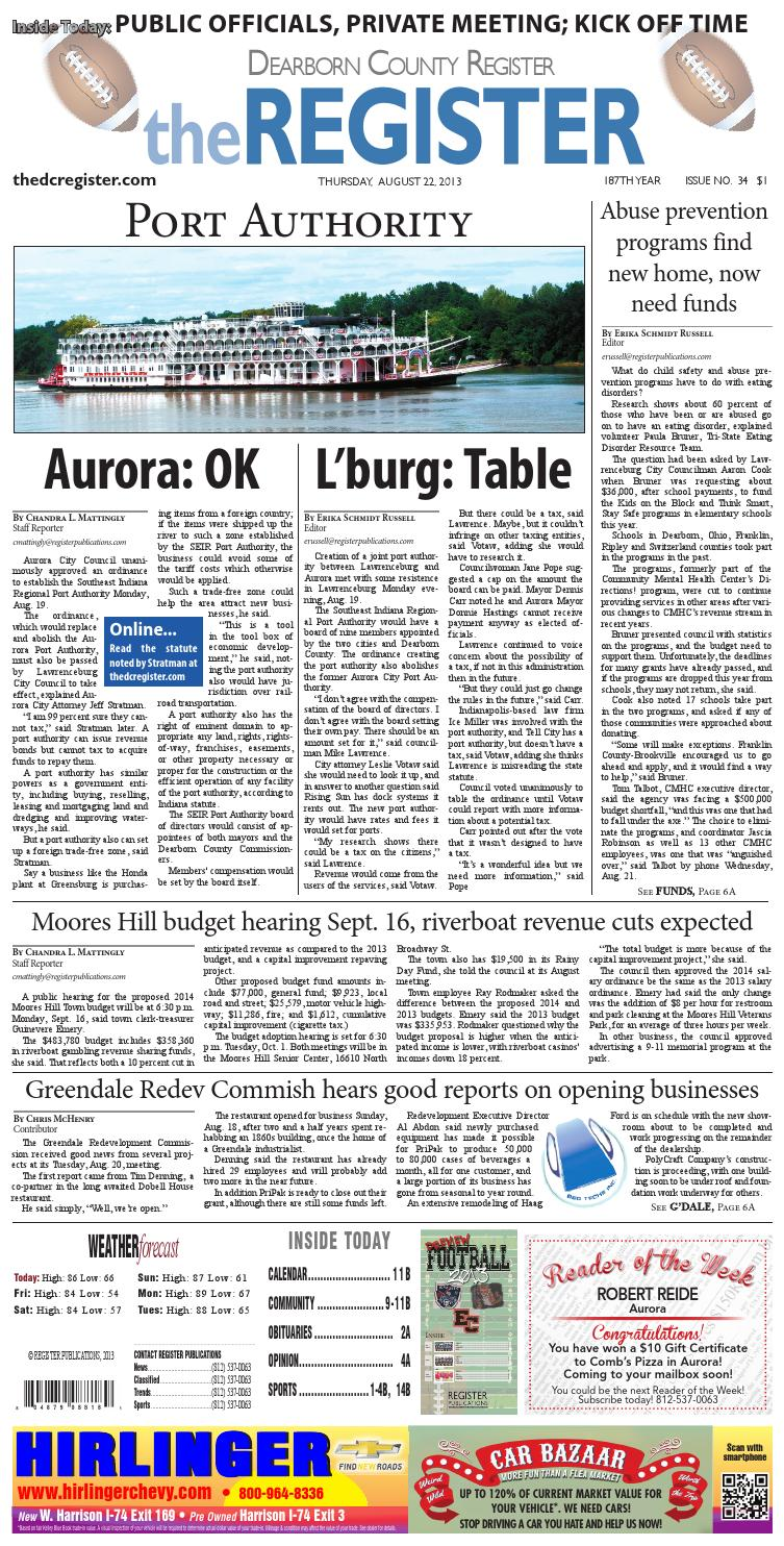 The Dearborn County Register 8 22 13 By Denise Freitag Burdette  # Muebles Jenny Scheihing