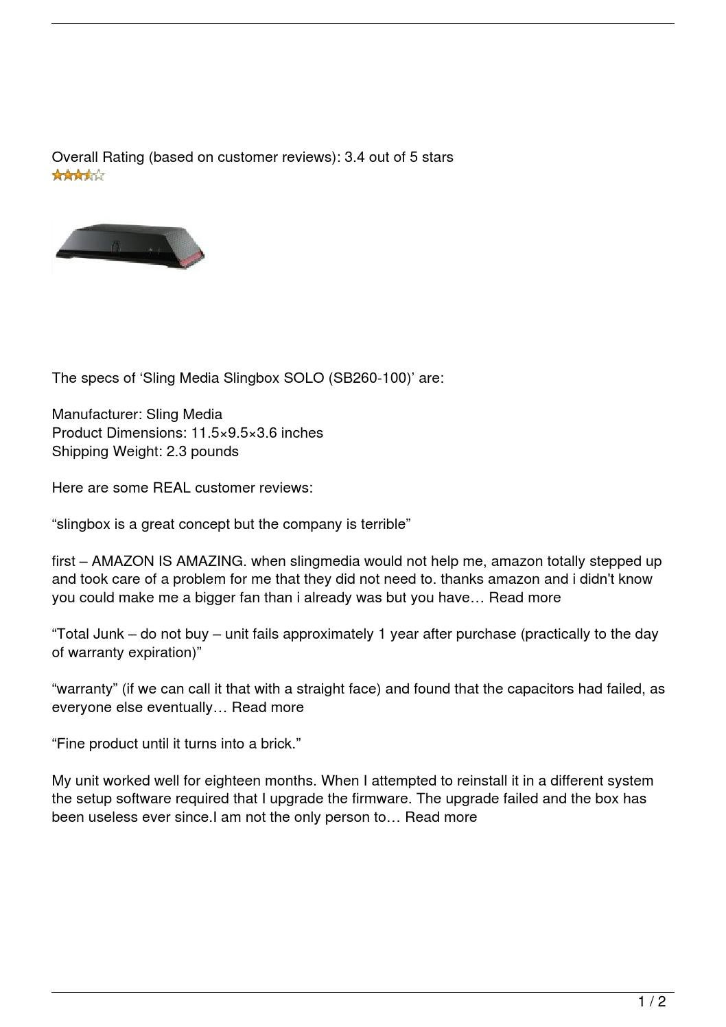 Sling Media Slingbox SOLO (SB260-100) Review by Billy - issuu