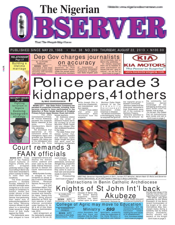 Nigerian observer 22 08 2013 by Nigerian Observer - issuu