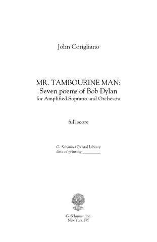 Corigliano MR TAMBOURINE MAN: SEVEN POEMS OF BOB DYLAN (for soprano ...
