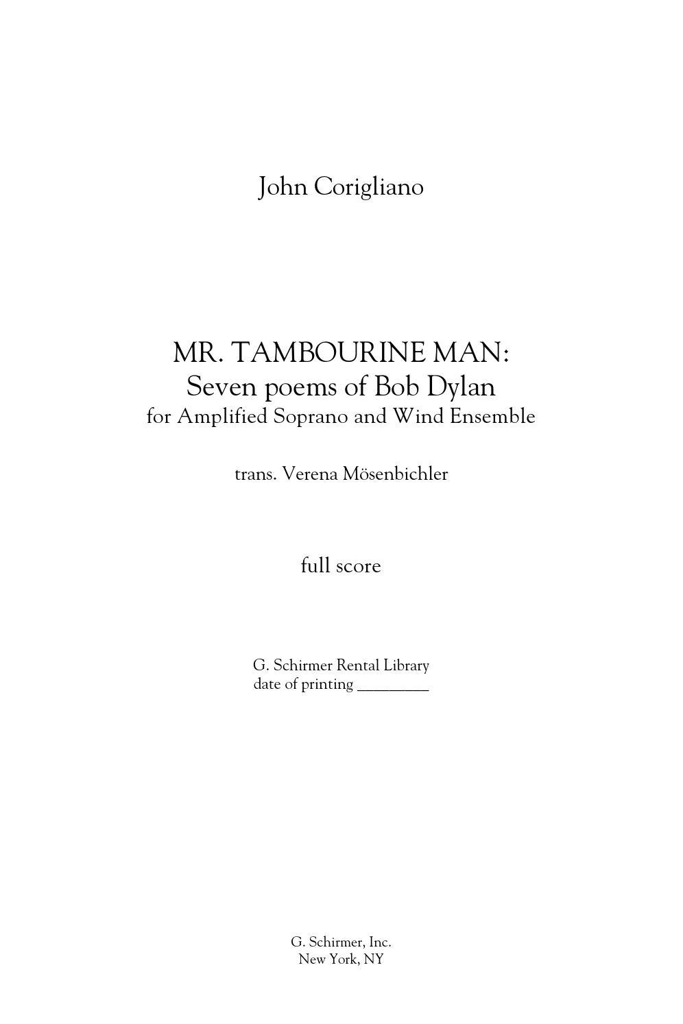 Corigliano Mr Tambourine Man Seven Poems Of Bob Dylan For Soprano