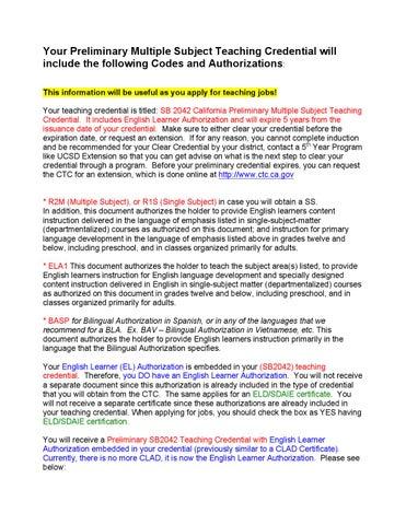 2 多科目教师资格证 Multiple Subject Teaching Credential 适用于在小学教育系统中教多科目 因为美国小学一个老师需要教所有的科目 包括语文 数学 音乐 体育