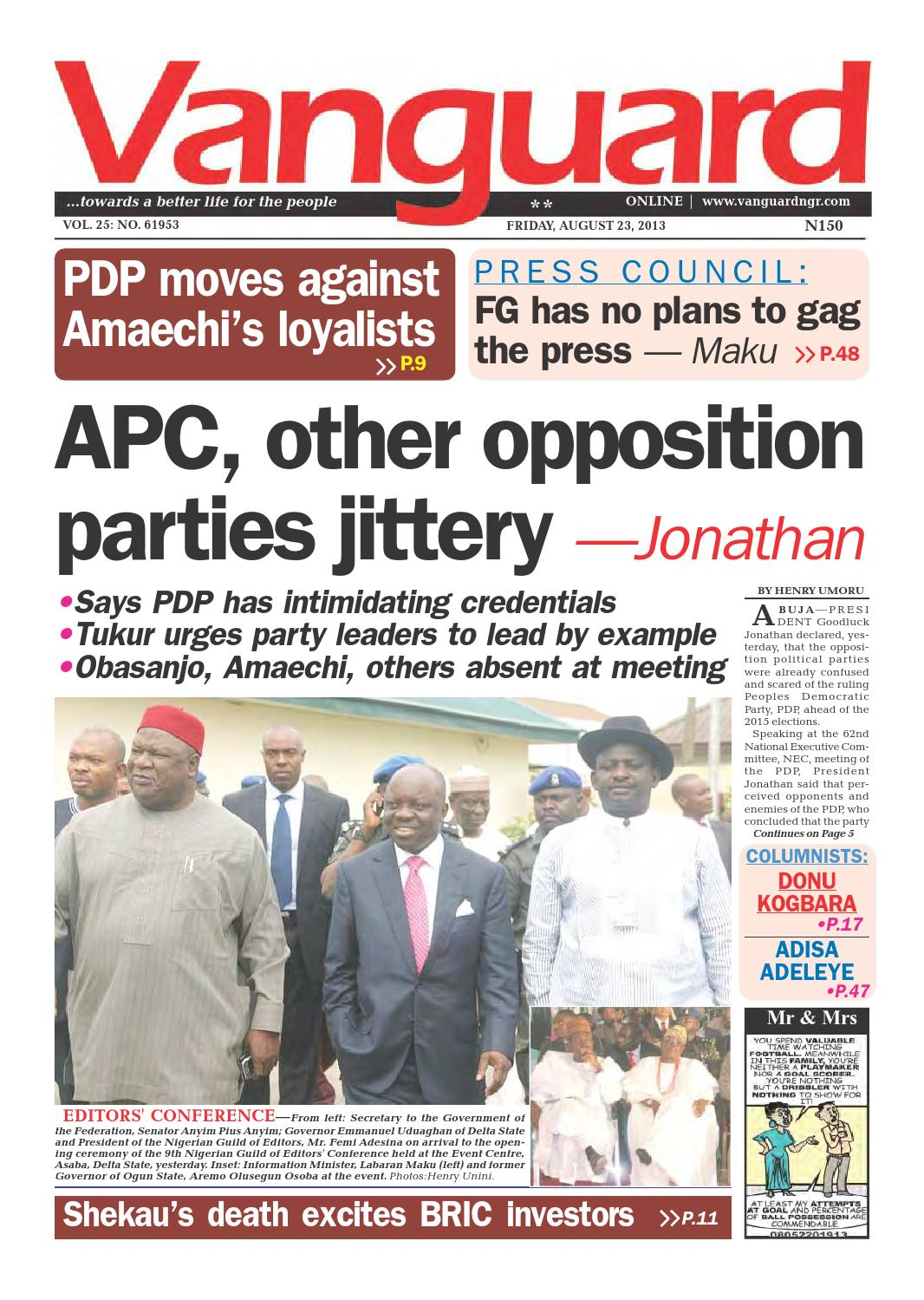 APC, other opposition parties jittery —Jonathan by Vanguard Media