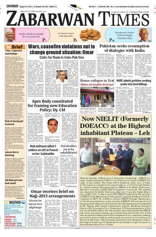 Zabarwan Times E-paper English 24 August by Zabarwan Times