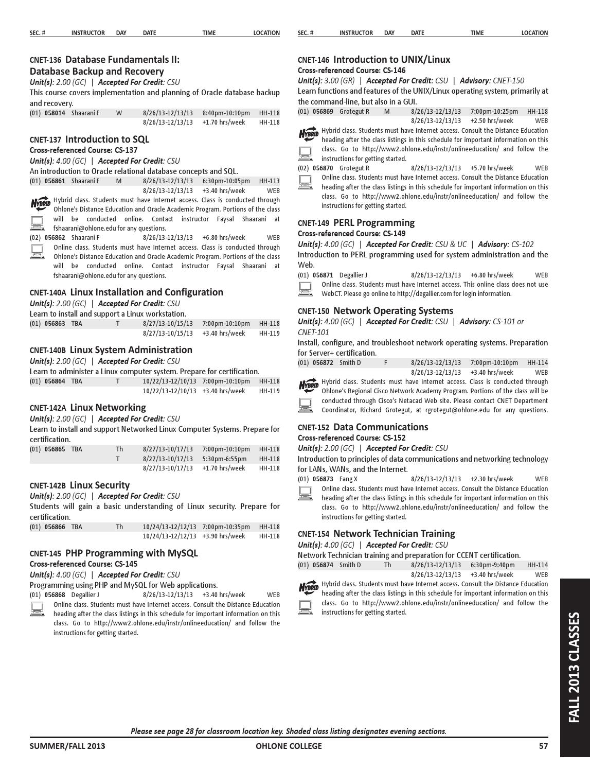 Summer/Fall 2013 Ohlone College Class Schedule by Ohlone