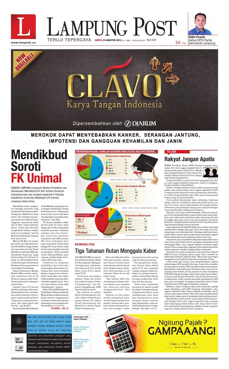 Lampung Post Sabtu 24 Agustus 2013 By Issuu Timberland Tbl14655js 07 Jam Tangan Pria Coklat Muda