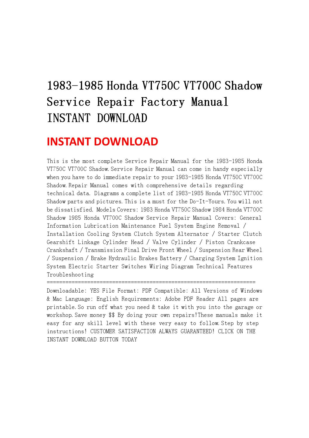 Page on 1984 Honda Vt700c Shadow Diagram