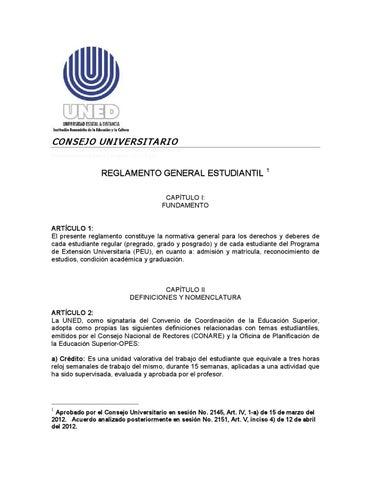 Reglamento General Estudiantil By Uned Neily Issuu