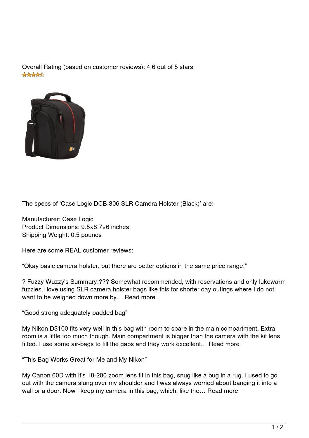 Case Logic DCB-306 SLR Camera Holster (Black) Review by Jeff