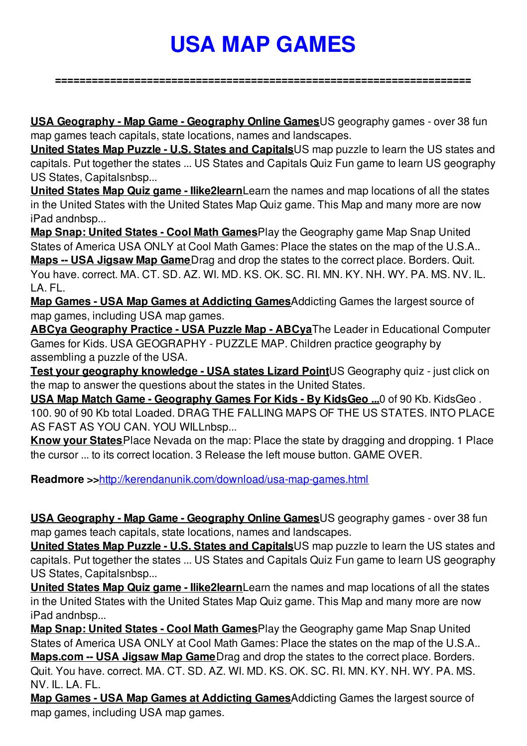 Usa map games by Julie Preston - issuu