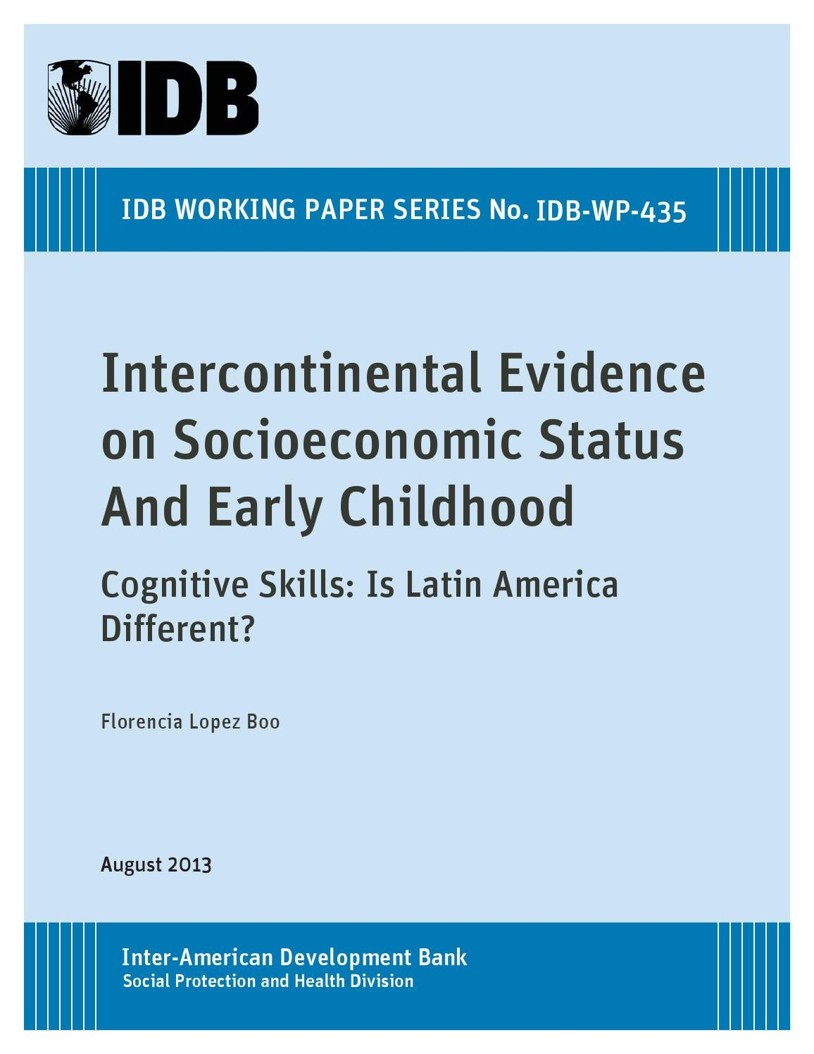 intercontinental evidence on socioeconomic status and early