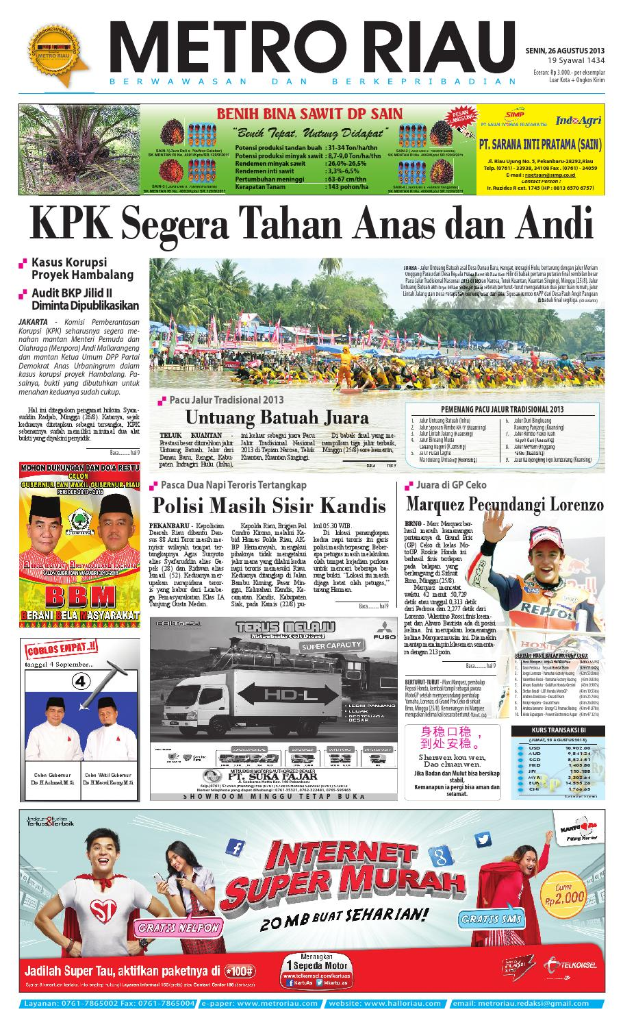 260813 By Harian Pagi Metro Riau Issuu