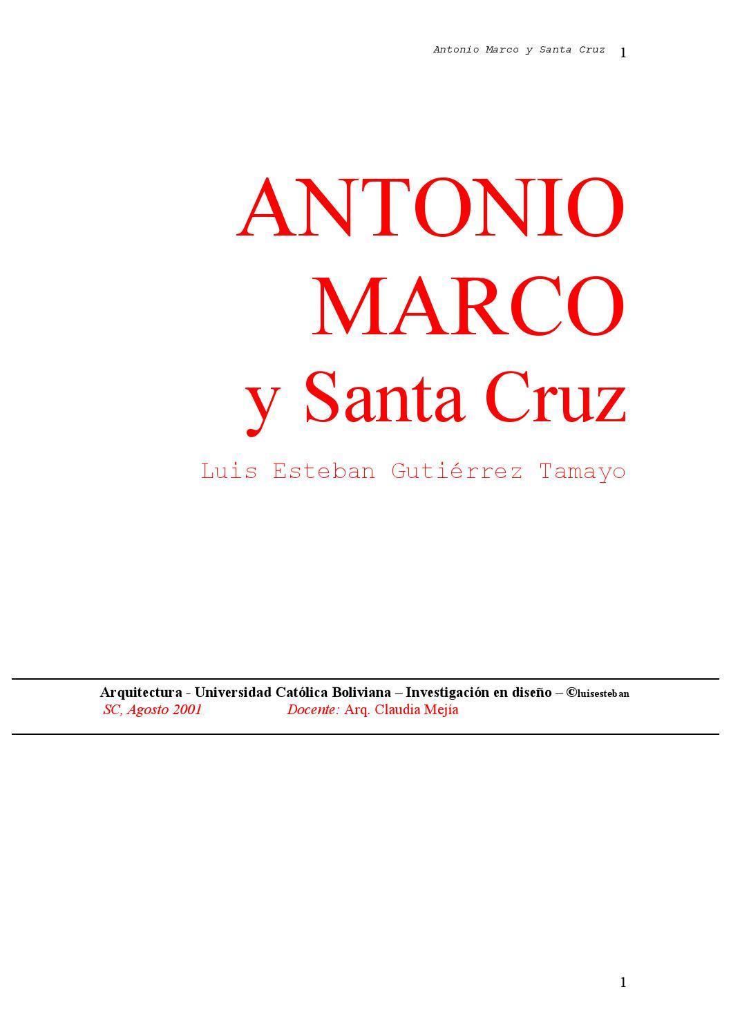 Antonio Marco y Santa Cruz by Luis Esteban Gutiérrez Tamayo - issuu